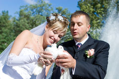 Two Pigeons In Hands Of Newly-married Couple Stock Photo