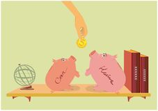 Two pink piggy pigs on a bookshelf and a hand with a coin. Two Piggy bank on the bookshelf, two brown books and a globe royalty free illustration