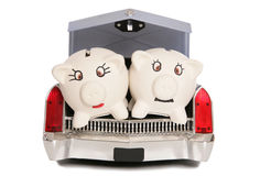 Two piggy banks in car boot. Cutout Stock Photography