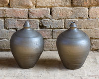 Two piggy banks. Two clay piggy banks drying Bhaktapur, Nepal Stock Image