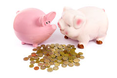 Two piggy banks with euro coins on white. Two pink piggy banks with euro coins isolated on white background Royalty Free Stock Photography