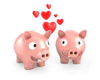 Two piggy banks fall in love. On white background Royalty Free Stock Images