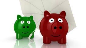 Two piggy banks hiding under an umbrella Stock Image