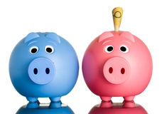 Two piggy banks with money in one. Two cute piggy banks with Australian dollars in one of them.  on white Royalty Free Stock Photos