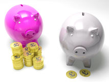 Two Piggybanks Savings Show Britain Banking Accounts Royalty Free Stock Photo