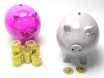 Two Piggybanks Savings Showing European Wealth royalty free illustration