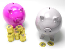 Two Piggybanks Savings Shows American Savings Stock Photo
