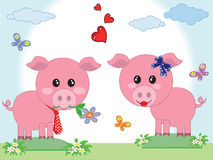 Two pigs in love Royalty Free Stock Image