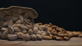 Two piles of almonds in shell and shelled on a wooden table isolated on black stock video