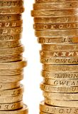 Two piles of coins Royalty Free Stock Images