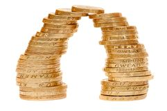 Two piles of coins Stock Photo