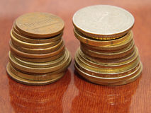 Two piles of coins. Stock Photography