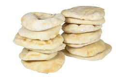 Two Piles Containing Thirteen Stacked Pitta Breads Stock Image
