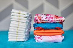 Two piles of diapers Stock Photos