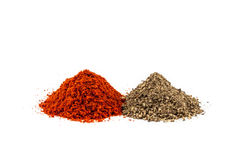 Two piles of grinded pepper Stock Photo