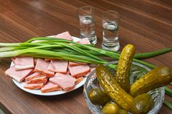 Food on a festive wooden table close up stock images