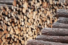 Two piles of wooden logs  - focus on the first Royalty Free Stock Photos