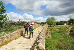 Two pilgrims on the Way to, Via de la Plata, Spain Royalty Free Stock Image