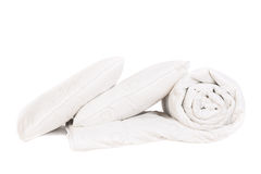 Two pillows and duvet. Isolated on white Stock Image