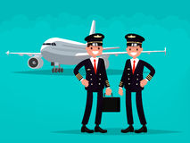 Two pilots on the background of the aircraft.. Vector illustration of a flat design Royalty Free Stock Photography
