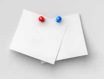 Two pin notes Stock Images
