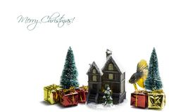 Two pines with Christmas presents and gifts royalty free stock photos