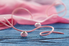 Two ping bead on blue table Stock Image