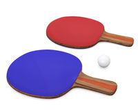 Two ping-pong rackets and ball for playing table tennis. Stock Images