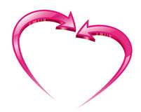 Two pink arrows create a heart shape. Stock Images