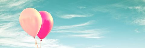 Two pink balloons on panoramic background, love and couple concept. Two pink balloons on panoramic sky background, love and couple concept stock photos