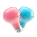 Two pink and blue bulbs forming a shape of heart Stock Photos
