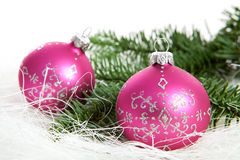 Two pink chrismas balls Royalty Free Stock Image