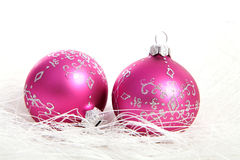 Two pink chrismas balls Stock Photos