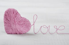 Two pink clews in shape of heart Royalty Free Stock Photography