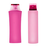 Two pink cosmetic containers.Isolated. Stock Photo