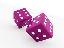 Two pink dice cubes  Stock Photos