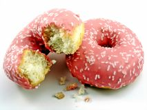 Two pink doughnuts Stock Photos
