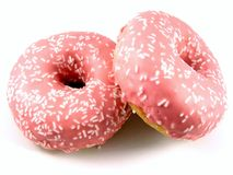 Two pink doughnuts Stock Photography