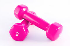 Two pink dumbbells Stock Photos