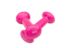 Two pink dumbbells. Couple pink dumbbell on white Royalty Free Stock Images