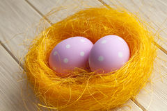 Two pink Easter eggs Stock Photography