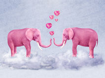 Two pink elephants in love. Illustration for a card or book cover or magazine. Computer graphics stock illustration