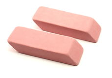 Two pink erasers Royalty Free Stock Photos