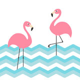 Two pink flamingo set. Blue sea ocean water zigzag wave. Exotic tropical bird. Zoo animal collection. Cute cartoon character. Deco Stock Photos