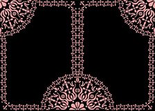 Two pink frames decoration on black Stock Images
