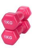 Two pink glossy dumbbell isolated on white Royalty Free Stock Photography
