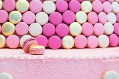 Two pink gold macarons Stock Photo