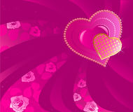 Two pink heart. Two precious pink hearts on a pink background decorated by flexible ribbons with a pattern from roses Stock Images