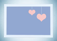 Two pink heart shape with copy space in white wooden frame backg Stock Photography