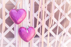 Two pink heart. Vintage style Royalty Free Stock Photography